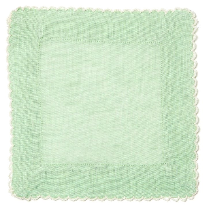 S/4 Cocktail Napkins, Ice Green
