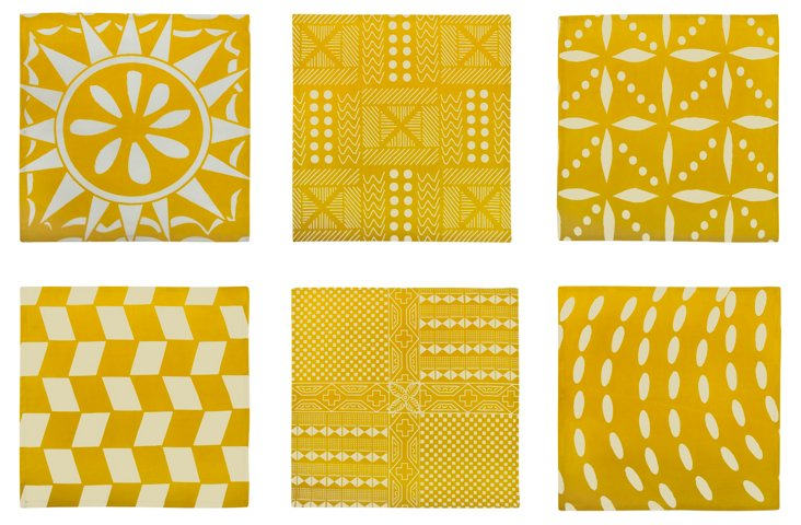 S/6 Assorted Afrique Napkins, Gold