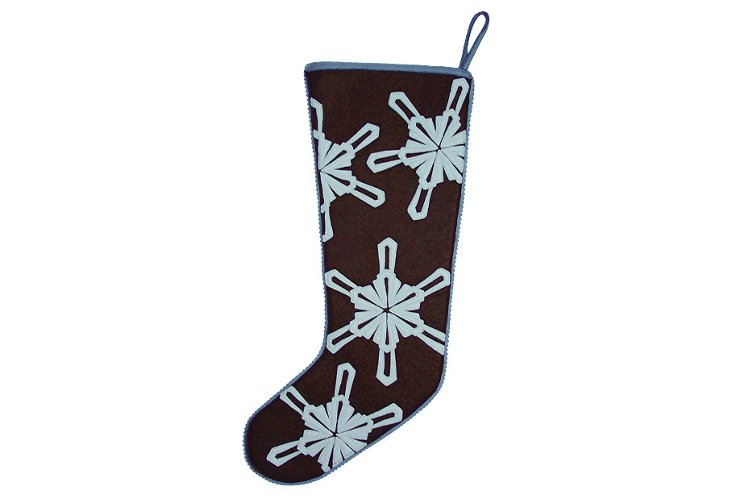 Snow Crystal Stocking, Brown