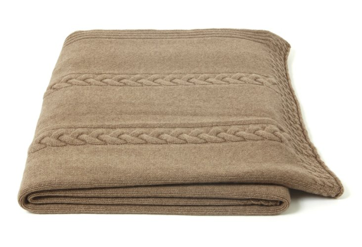 Rope Cable Throw, Taupe