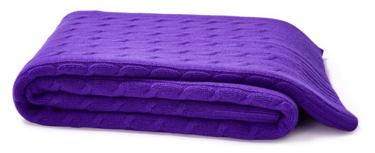 Cable-Knit Cashmere-Blended Throw,Violet