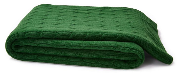 Cable Knit Throw, Emerald