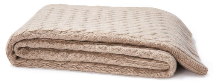 Cable Knit Cashmere  Throw, Taupe