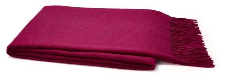 Sumptuous Cashmere Throw, Magenta