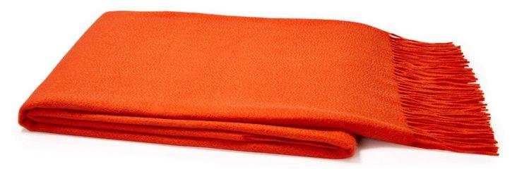 Sumptuous Cashmere Throw, Orange