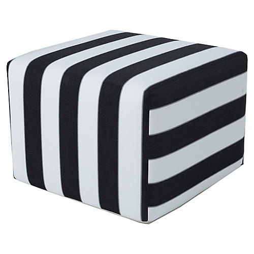 Frances Square Pouf, Black/White