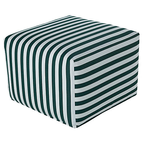 Frances Square Pouf, White/Green Sunbrella