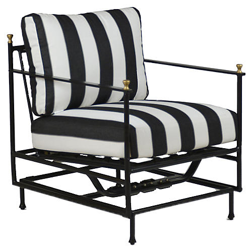 Frances Motion Lounge Chair, Black/White Sunbrella