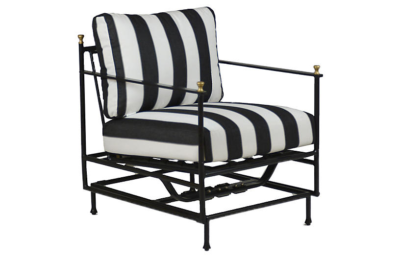 Frances motion lounge chair black white sunbrella for One kings lane outdoor furniture