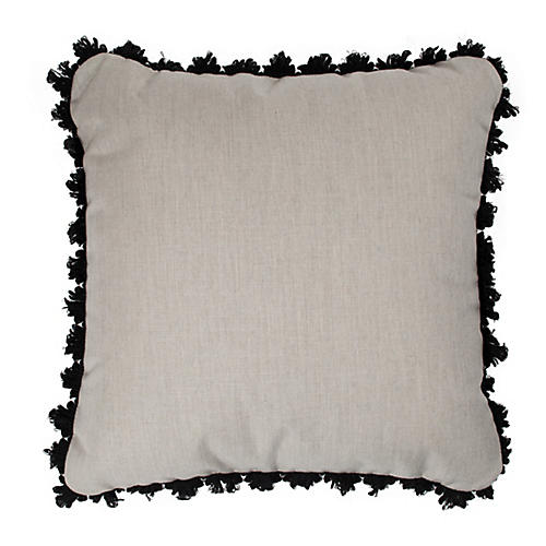 S/2 Frances Outdoor Pillows, Gray/Black Sunbrella