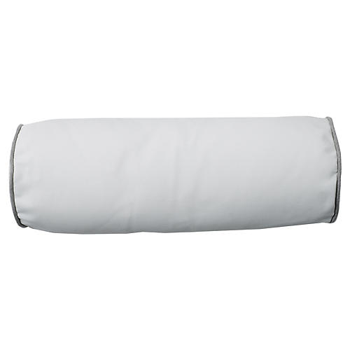 Aviva Outdoor Bolster Pillow, White/Gray