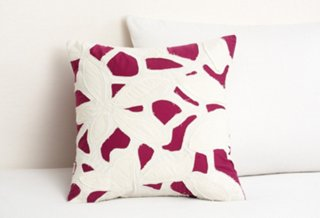 Cut Out Applique Pillow, Rose Madder