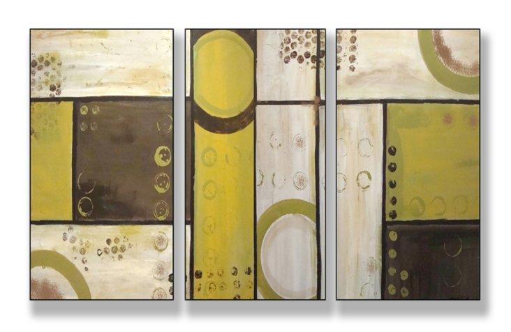 Industrial Circles Beige Mini Triptych