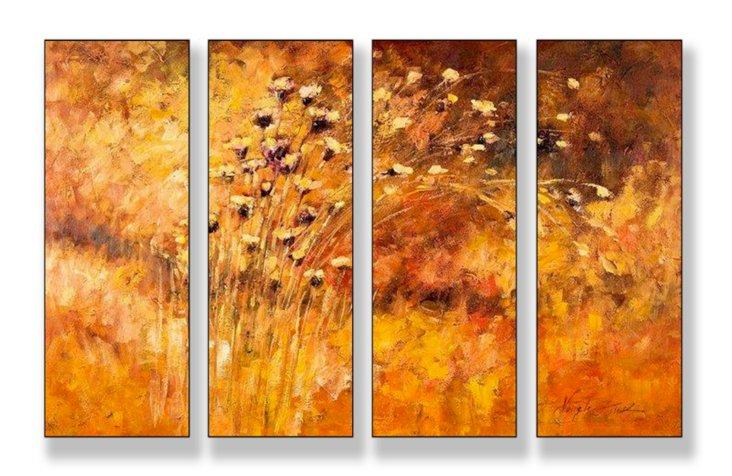 Fall Wind Scene Mini Quadtych