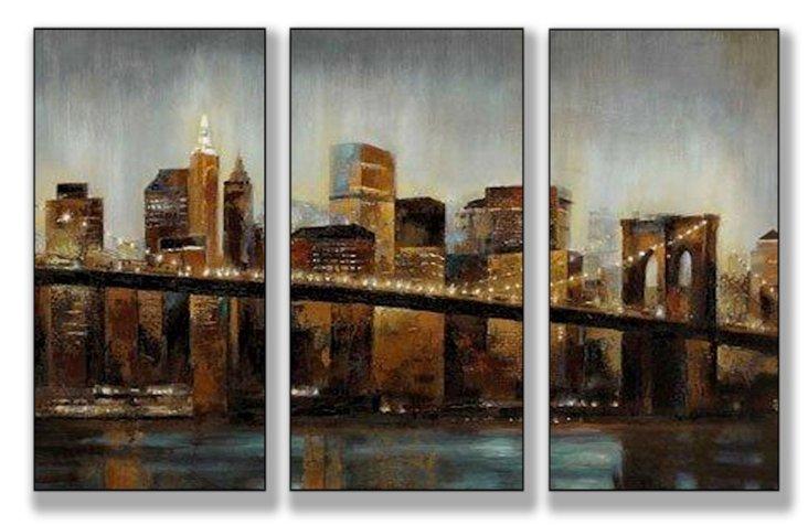 Lights on Bridge Mini Triptych