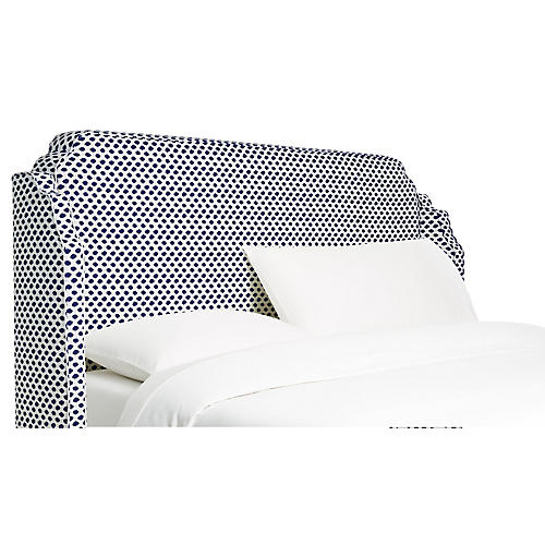 Aurora Wingback Headboard, Navy Dots