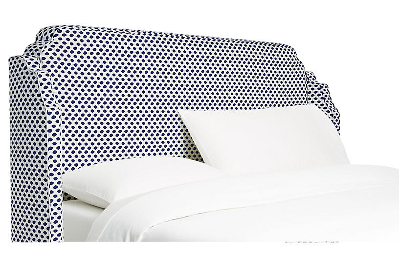Aurora Wingback Headboard - Navy Dots