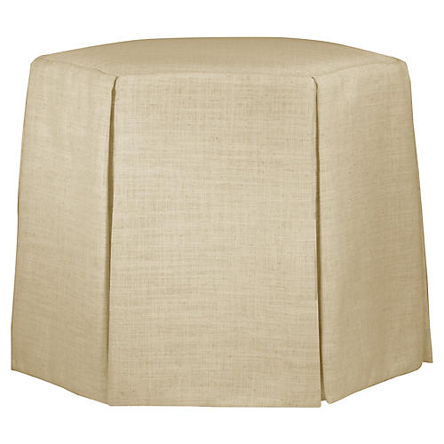 Savannah Skirted Ottoman, Sand Linen