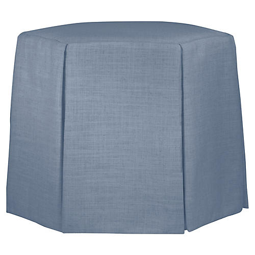 Savannah Skirted Ottoman, French Blue