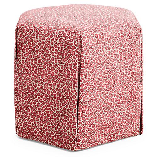 Savannah Skirted Ottoman, Pink Leopard