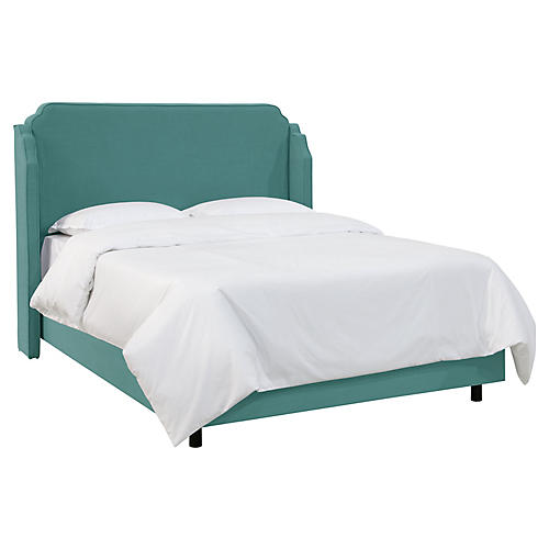Aurora Wingback Bed, Teal
