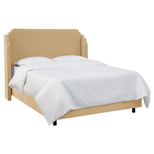 Aurora Wingback Bed, Sand Linen