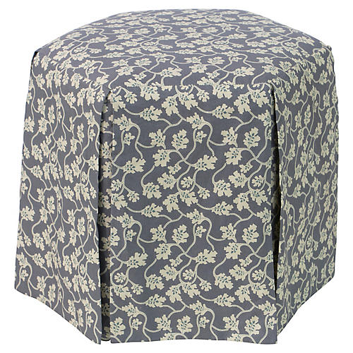 Savannah Skirted Ottoman, Slate Vine
