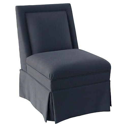 Greer Skirted Slipper Chair, Navy Linen
