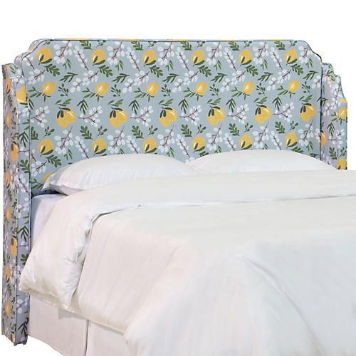 Aurora Wingback Headboard, Lemon Blossom Linen