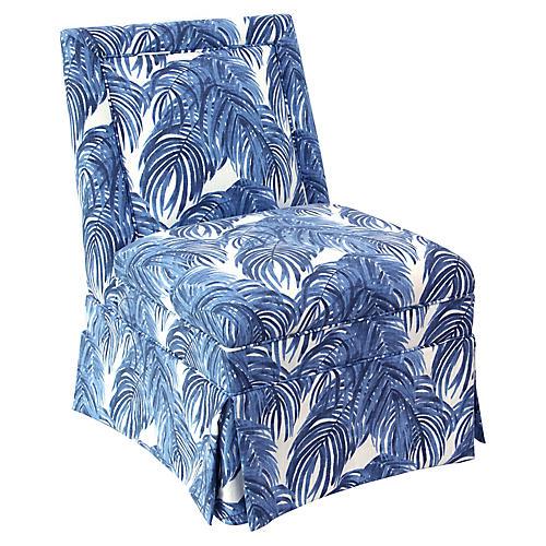 Greer Slipper Chair, Blue Palm
