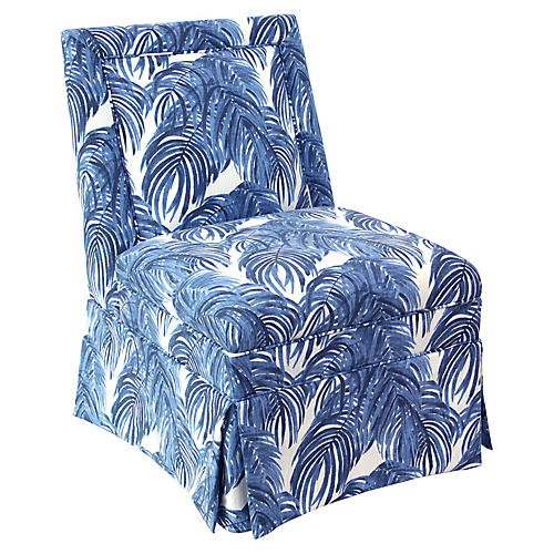 Greer Skirted Slipper Chair, Blue Palm