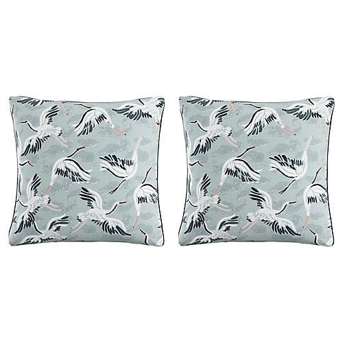 S/2 Cranes 20x20 Pillows, Seafoam/Navy