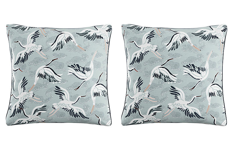 S/2 Cranes Pillows, Seafoam/Navy