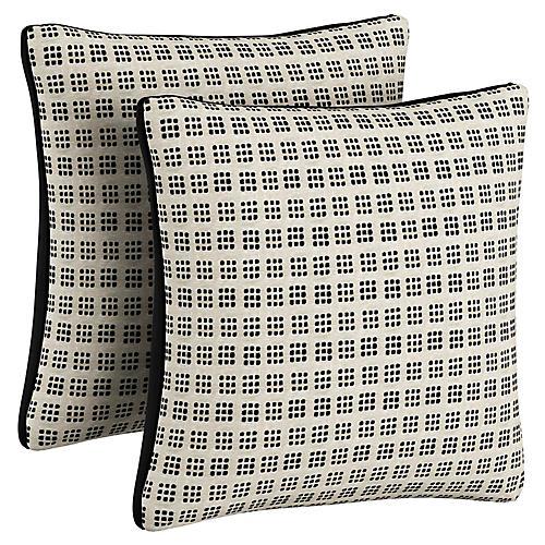 S/2 Cassie Pillows, Natural/Black Velvet