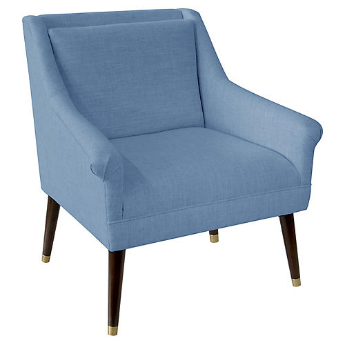 Carson Accent Chair, French Blue Linen