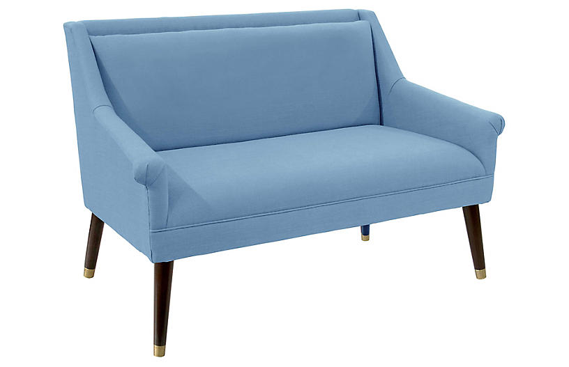 Carson Settee, French Blue Linen