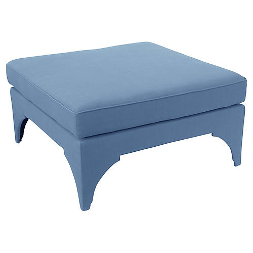 Saranda Cocktail Ottoman, French Blue Linen
