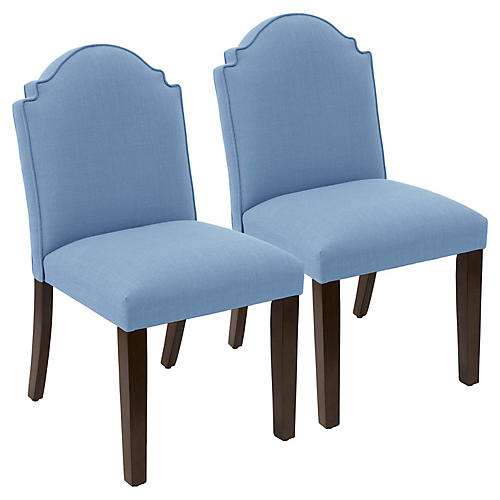 S/2 Elloree Side Chairs, French Blue Linen
