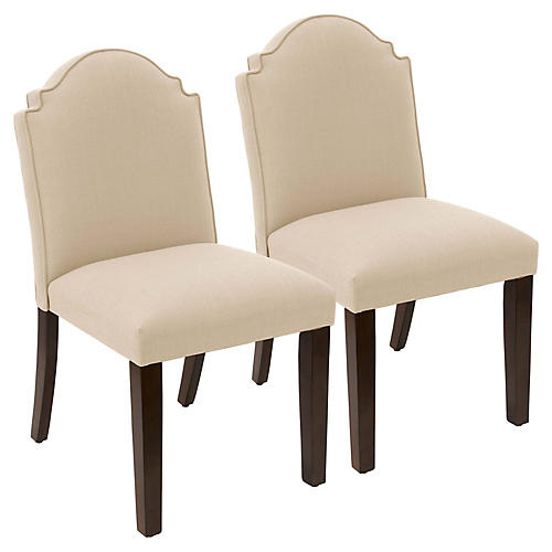 S/2 Elloree Side Chairs, Sand Linen
