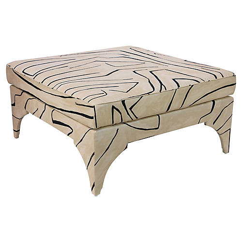 Saranda Cocktail Ottoman, Sand/Black