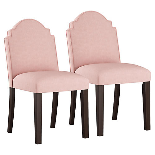 S/2 Elloree Side Chairs, Blush/Multi