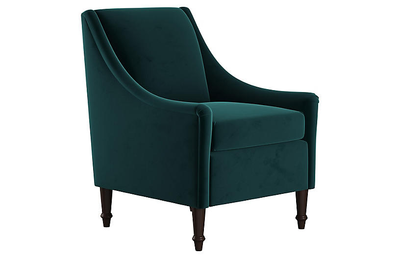 Holmes Accent Chair, Peacock Velvet