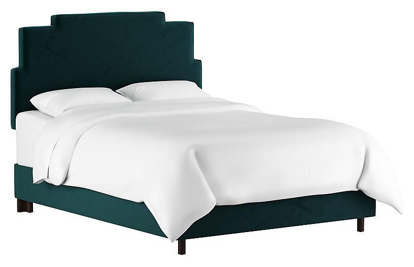 Paxton Bed, Peacock Velvet