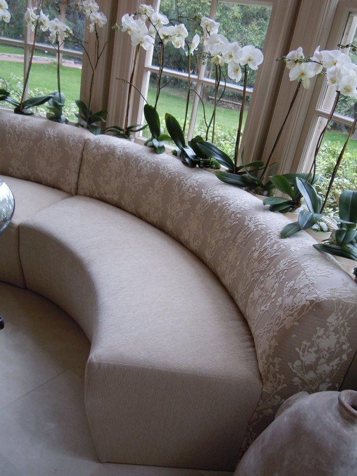 Custom-Upholstered Curved Banquette