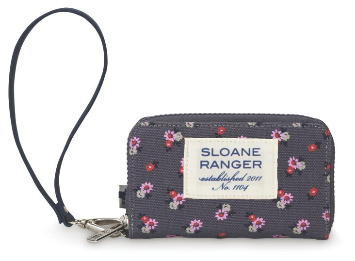 Small Floral Phone Wallet, Gray/Pink