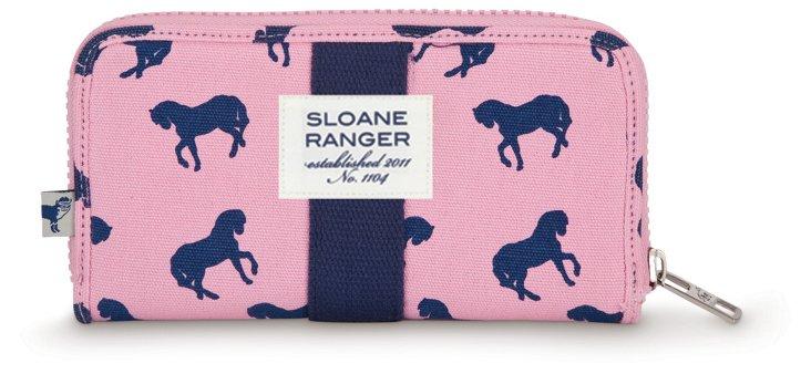 Canvas Zip Around Wallet, Horses