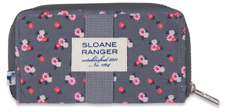 Floral Zip Around Wallet, Gray/Pink