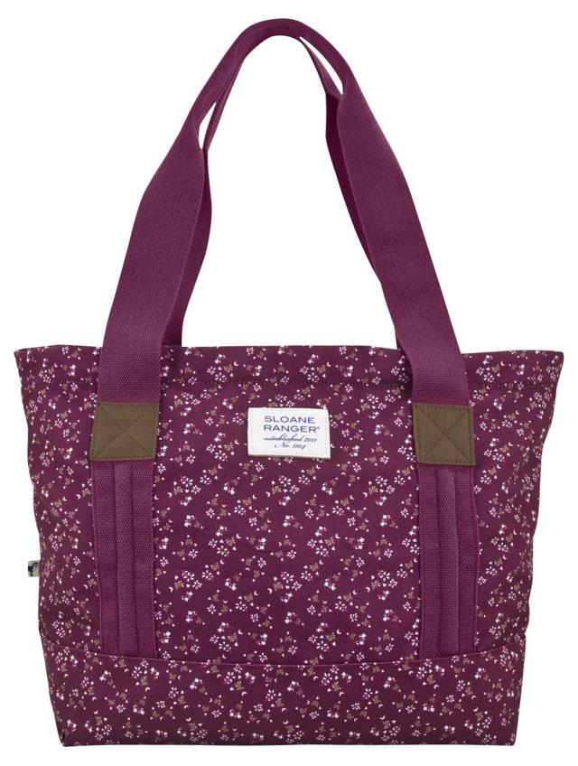 Kate's Garden Tote Bag, Merlot/White