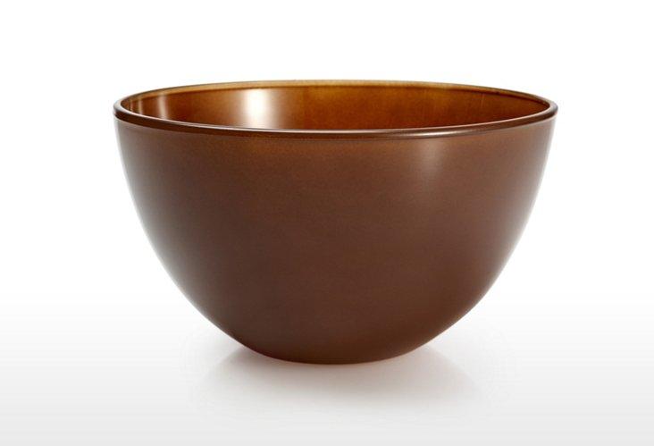 S/2 Glass Bowls, Chocolate