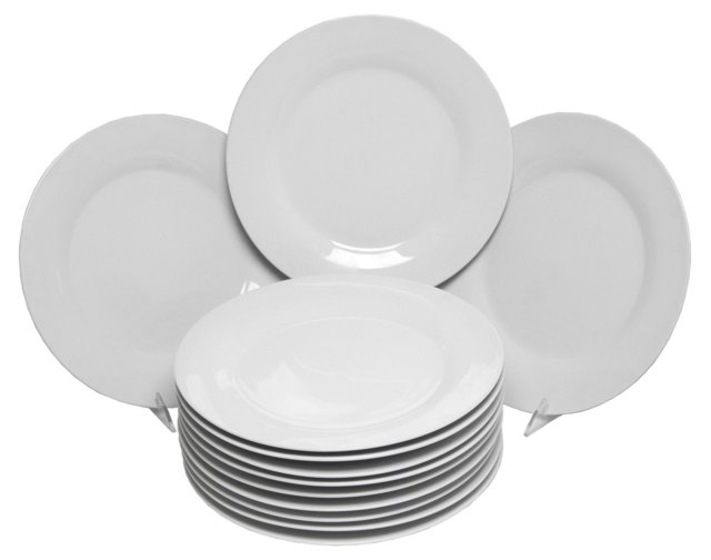 S/12 Porcelain Dinner Plates, White